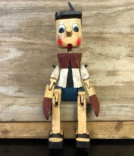Vintage Finish Wooden Puppet Pinocchio Sitting Ornament - LARGE